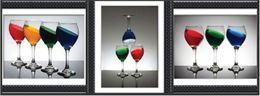 Wholesale Decorative Glass Diamonds - DIY Diamond Painting Stickers Decorative Painting Rhinestone Mosaic 5D Cross Stitch Part Of The Drill Colored Wine Glasses 56 * 45