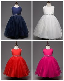 Wholesale Skirts Formal Dance - Big girl dance dress children holiday crepe tutu skirts pure color kids dresses with resin belt princess boutique skirt