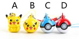 Wholesale Mini Pc Bag - 50 pcs lot Pikachu go figure pendants Anime Pikachu Poke Ball bells mini keychain bag phone straps free shipping