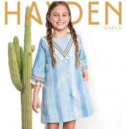 Wholesale Indian Girls Clothes - Autumn Europe and America Fashion Indian Design Denim Tassel Dresses Children Girls Dress Washed Blue Big Girls Straight Dress Clothing
