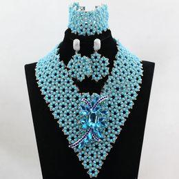 Clips increíbles cielo azul plata cuentas africanas Sistemas de la joyería Pendientes de moda Colgantes Collares Pulseras Brazaletes Set para mujeres Precio al por mayor desde fabricantes