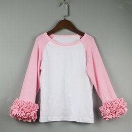 Wholesale girl raglan tee kids blank tshirts personalized shirts toddle christmas ruffles icing tshirt dress baseball tee long sleeve ruffled t shirts