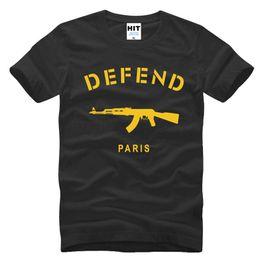 Wholesale Novelty Paris - WISHCART DEFEND PARIS AK47 Hip Hop Novelty Printed Mens T Shirt T-shirt 2016 New Short Sleeve Cotton Tshirt Tee Camisetas Masculina
