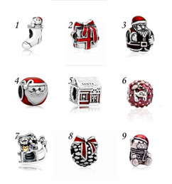 Wholesale Deer Bear - Christmas Father Santa Claus Gifts Deer House Stocking Pinecone Bear Sleigh Charms Cheap Beads fit Pandora Bracelets Presents for Sale Girls