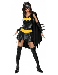 Wholesale Batgirl Comics - New Arrival Hot Halloween Super Hero Uniform Fetish Black DC Comics Batgirl Fancy Dress Adult Women's Costume W38653