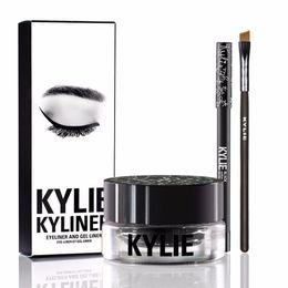 Wholesale Eyebrow Brushes - Kylie Gel Eyebrow Liner Kit BRAND NEW Kylie Jenner Kyliner In Black With Eyeliner Gel pot Brush (1 set =1 eyeliner+ 1 brush + 1 cream) MR214