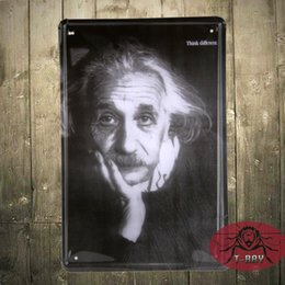 Wholesale Order For Restaurant - Vintage Einstein is thinking poster Tin signs for Bar Coffee Restaurant Home Decoration Decals G-43 20*30cm Mix order 160909#