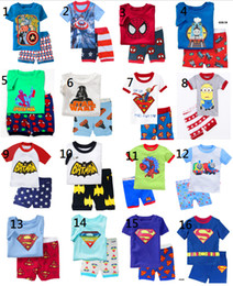 Wholesale Boy kids short pajama set baby superman pajamas sleepwear kids short clothes set kids short sleeve pajamas