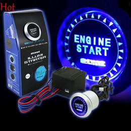 Wholesale Car Engines - 12V Car Engine Start Push Button Switch Ignition Starter Kit Blue LED Universal Keyless Ignition Switch Kit SV001478