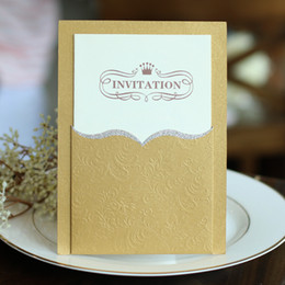 Wholesale Birthday Invitations Custom - High Quality Gold Wedding Invitations 2016 Cheap Elengant Pink Invitation Cards For Party With Print Blank or Custom Inner