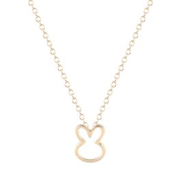 Wholesale Gold Necklace Small - 10pcs lot Simple Loverly Bunny Charm Necklaces Gift for Girls Cut Small Animal Rabbit Pendants Lovers Pet Jewelry Collier Femme
