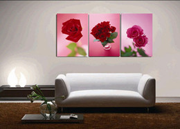 Wholesale Impressionist Drawings - 100%hand-painted oil wall art The Red passion Abstract oil paintings on canvas 3pcs set Home Decor Frameless draw core