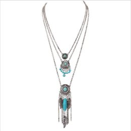 Wholesale Silver Dream Catcher - Wholesale-Boho Antique Silver 3 Layered Dream Catcher Leaves Feathers Charm Necklaces Round Turquoise Beads Necklace Jewelry XL-628