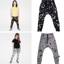 Wholesale Boys Black Trousers - Boys Splash Pants Cotton Children Trousers Toddler Kids Harem Pants with Drawstring nununu Fashion Style 1-7T