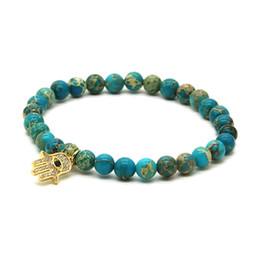 Wholesale Light Blue Stone Jewelry - Wholesale Womens Brand Jewelry Micro Inlay Zircons Fatima Hand Hamsa Cz Bracelets with 6mm Light Blue Sea Sediment Imperial Stone