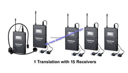 Wholesale Uhf Voice - Boutique Takstar WTG-500 UHF PLL Wireless tour guide system voice device teaching earphones 1Transmitter+15Receiver+MIC+earphone free ship
