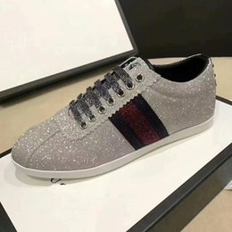 Wholesale classic details - The classic low-top sneaker in leather with Web detail. luxury 2017 quality Men's shoes free MATCH-UP SNEAKER Glitter Web sneaker size35-45