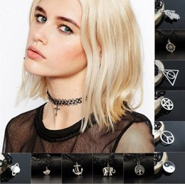 Wholesale Vintage Plastic Charm Necklace - Wholesale 12PCS Many Styles Antique Silver Charms Vintage hippy stretch tattoo choker Henna necklace Elastic chocker Boho 80s 90s
