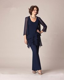 Wholesale Long Coat Pant Suits Plus Size - Three Pieces Chiffon Mother Of the Bride Pant Suits 2016 Long Sleeves Formal Plus Size Beach Mother Dress With Coat Evening Party Gowns