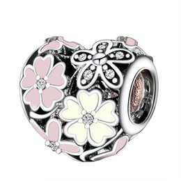 Wholesale European Bracelet Chain 925 - Wholesale 925 Sterling Silver Charms Poetic Blooms Enamel CZ European Charm Beads Fit Snake Chain Bracelet DIY Original Jewelry