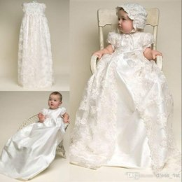 Wholesale Baby Christening Dress Boys - Custom Made Christening Dresses Lovely High Quality Taffeta Baptism Gown Lace Jacket Christening Dresses with Bonnet for Baby Girls and Boys