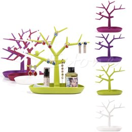 Wholesale Tree Necklace Holders - New Display Organizer Holder Show Rack Jewelry Necklace Ring Earring Tree Stand