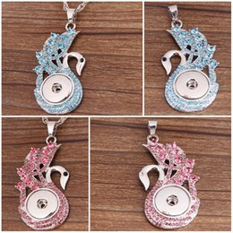 Wholesale Metal Peacock Necklace - 2016 Peacock Design Metal Crystal Noosa Pendant 2 Color Snap Button Jewelry Fit 18mm Snap Buttons for Necklace D810L