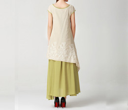 Wholesale Embroidery Cotton Dress For Women - Summer Dresses for women Embroidered Cotton Linen Plus Size Women Clothes Maxi dress Two Piece Short Sleeve O Neck Long style