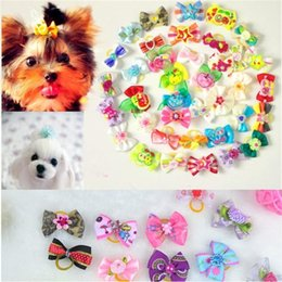 Wholesale Design Hair Bows - New Mix Designs Rhinestone Pearls Style dog bows pet hair bows dog hair accessories grooming products Cute Gift 500pcs lot 0594