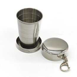 Wholesale Stainless Steel Retractable Keychain - hot sale Stainless Steel Portable Mini Travel Retractable Cup Keychain Folding Collapsible Cup Hiking & Camping Outdoor Gadgets key rings