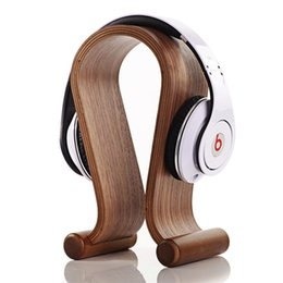 Wholesale Wooden Headphones - Wooden Omega Headphone Display Stand Stands Headphones Holder Headset Hanger for Brand headset headsets mate Free Ship