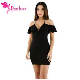 Dear Lover Hot bodycon dresses 2017 for night club Sexy Ladies Black Off  The Shoulder Ruffle Mini Dress Vestidos Mujer LC220008 q1113