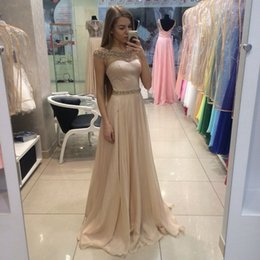 Wholesale Cheap Silk Patterned Dresses - Sexy Long Champagne Prom Dresses 2017 Crystal Neckline Cap Sleeve Cheap Evening Party Gowns Pageant Dresses