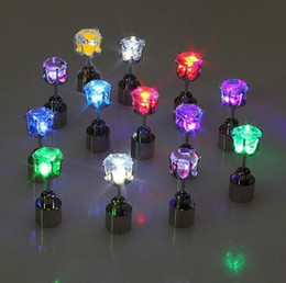 Wholesale Light Up Earrings Wholesale - Crown Diamond Led Earrings LED Glowing Light Up Earrings Ear Studs Men Women Party Club Dance Gift 9 colors with box packaging