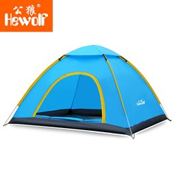 Wholesale Single Person Beach Tent - Wholesale-Hewolf Ultralight 2 Person Quick Open tent Waterproof Fully Automatic Tent 4 seasons anti UV Single Layer Beach camping Tent