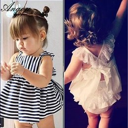 Wholesale Sets For Summer Baby - 2016 Ins Hot Baby Girl Sets Striped Bow Princess Toddler Clothing Sets Infant Kids Children Summer 2pcs Sets for 0-2T