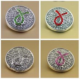 Fitas de botões on-line-Noosa botões 4 cores snap press para noosa couro DIY braceletes presentes de cristal rosa fita consciência do cancro da mama Snaps botões