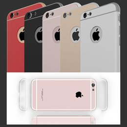 Wholesale Iphone Cases Luxury Logo - 2016 For Iphone 6S Rose Gold Case Luxury Removable 3 in 1 Hard Back Case For Iphone 6 4.7inch Clear Logo Metal Armor Cover