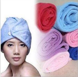 Wholesale Super Magic Towel - Free EMS Microfiber Magic Hair Dry Drying Turban Wrap Towel Long-haired Ultrafine Super Absorbent Fiber Hat Dry Hair Towel