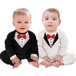 Wholesale Long Sleeve Baby Romper Tuxedo - Newborn Boy Baby Formal Suit Tuxedo Romper Pants Jumpsuit Gentleman Clothes for infant baby romper jumpsuits 0-24M