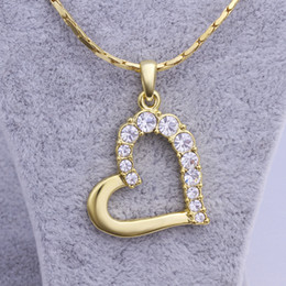 Wholesale bohemian necklaces - Free shipping brand new 24k 18k yellow gold heart Pendant Necklaces jewelry GN512 fashion gemstone crystal necklace christmas gift