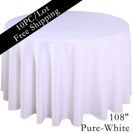 """Wholesale Cheap Red Decor - Home table cloth 108"""" Round Polyester Plain Tablecloth Cheap White Black Colored Hotel Table Cloth of Wedding Xmas Party Vintage Home Decor"""