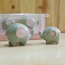 "Wholesale Little Salt - Baby Fhower Favor ""Mommy and Me"" - Little Elephant Ceramic Salt and Pepper Shaker Wedding Favors Gifts 100pcs=50sets"