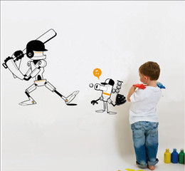 Wholesale Baseball Decals - Funny Robots playing baseball wall stickers for kids room zy1104 Creative DIY partern wall decals home decor