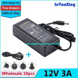 Wholesale Adapter For Lcd 12v 3a - 10pcs DC 12V 3A Adapter Power Supply + Cord For 5050 3528 LED Rigid Strip Light LED Display LCD Monitor DHL Free shipping