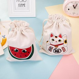 Wholesale Inkjet Recycling - Newest Halloween Sacks Candy Gifts Bag 21X15.5CM Treat & Trick Drawstring Bags Cotton Canvas Kids Pumpkin Spider Tote Bag