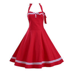 Wholesale Rockabilly Retro Dress Vintage - New Summer Women Hepburn Dresses Retro Casual Party Robe Rockabilly Vintage Plus Size Dresses Women's Clothing hot