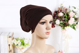 Wholesale Hijab Inner - 2016 New Arrival Designer Full Cover Inner Muslim Cotton Hijab Cap Islamic Head Wear Hat Underscarf 13 Colors Women Muslims Hat