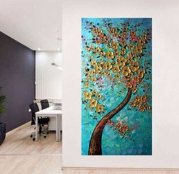 Wholesale Modern Art Flowers Canvas - Brand New 100% Hand-painted Huge Golden Flower Tree Oil Painting on Canvas Home Wall Decor Art Modern Abstract Paintings No Frame B3