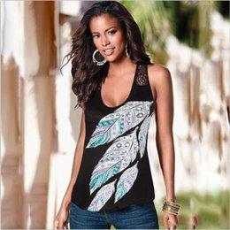 2016 de moda de verano de encaje dividida conjunta pluma de impresión de la chaqueta T Lástima de conejo para mujer camisas Crop Top Blusas desde fabricantes